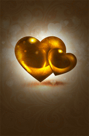 3d gold heart hd images for mobile