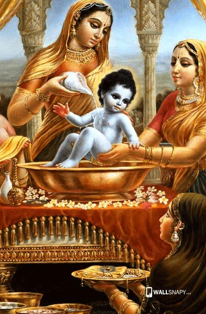 . Baby krishna bath hd wallpaper   Wallsnapy