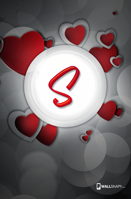 S Letter Image In Heart Wallsnapy
