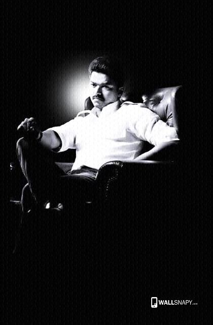 Vijay Thalaiva Movie White Shirt Sitting Hd Wallpaper Wallsnapy